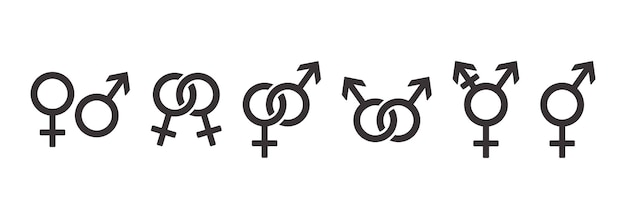 Zestaw ikon symboli płci, kolekcja symboli orientacji seksualnej. ilustracja wektorowa