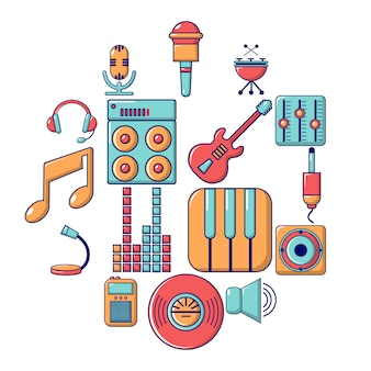 Zestaw ikon symboli studio nagrań, stylu cartoon