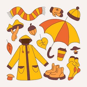 Zestaw ikon symbolizujących jesienną jasną kreskówkową dziecinną ilustrację wektorową