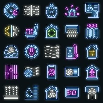 Zestaw ikon systemów kontroli klimatu. zarys zestawu systemów kontroli klimatu wektorowe ikony neonowe kolory na czarno