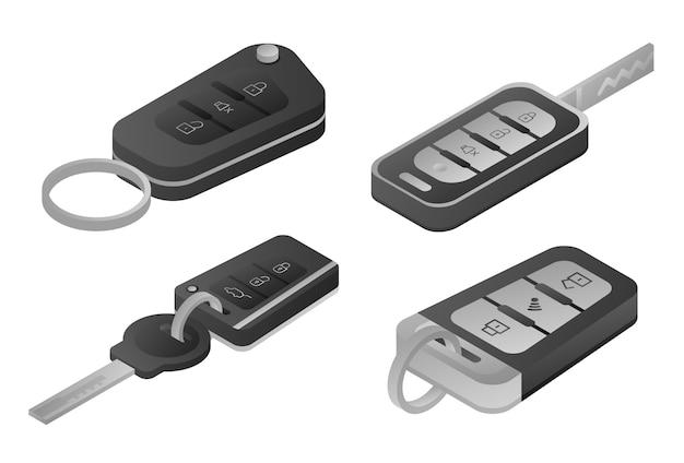 Zestaw ikon systemu alarmowego samochodu, izometryczny styl