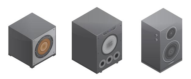 Zestaw ikon systemu stereo, styl izometryczny