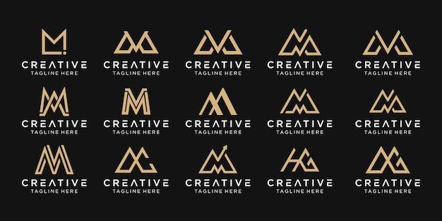 Zestaw ikon szablon logo streszczenie monogram list mm ma mv dla biznesu mody simple