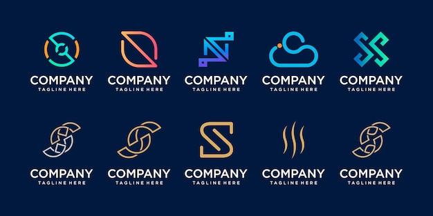 Zestaw ikon szablonu logo początkowej litery s dla biznesu cyfrowej technologii motoryzacyjnej