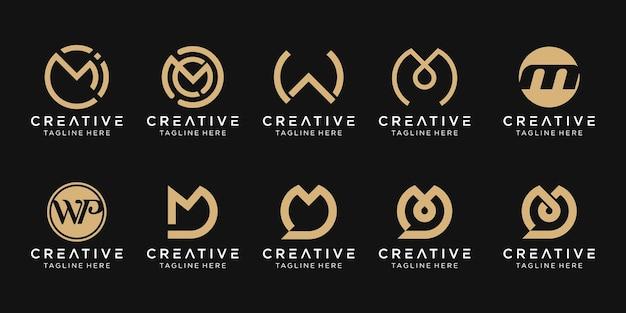 Zestaw ikon szablonu logo streszczenie monogram list mwd dla biznesu technologii rozmowy mody