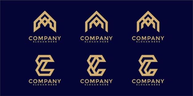 Zestaw ikon szablonu logo streszczenie początkowa litera a i e dla biznesu luksusowych eleganckich prostych