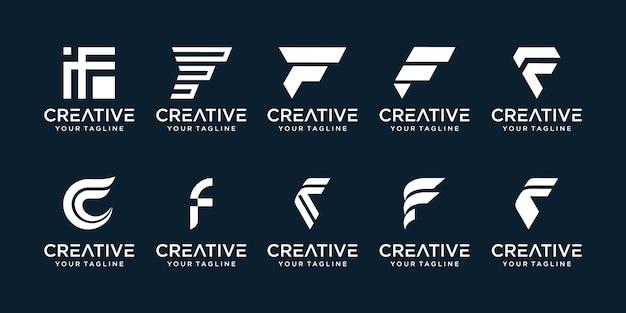 Zestaw ikon szablonu logo streszczenie początkowa litera f dla biznesu finansów moda sport