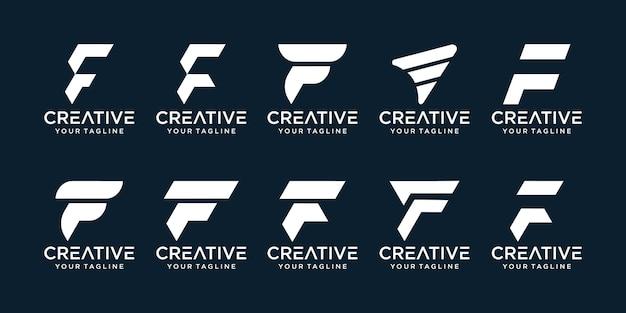 Zestaw ikon szablonu logo streszczenie początkowa litera f dla biznesu mody sport automotive