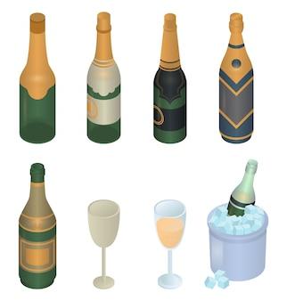 Zestaw ikon szampana, izometryczny styl