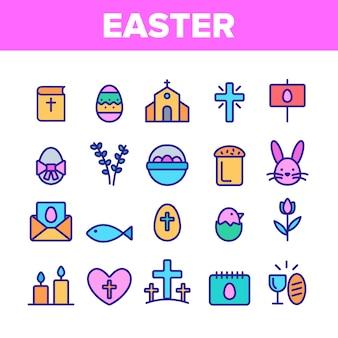 Zestaw ikon szczęśliwy elementy wielkanocne