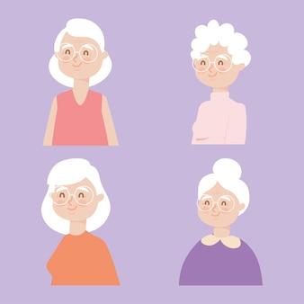 Zestaw ikon szczęśliwych starych kobiet
