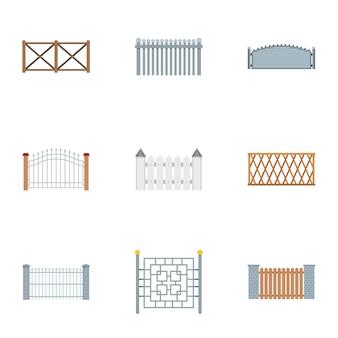 Zestaw ikon szermierki. płaski zestaw 9 ikon ogrodzenia