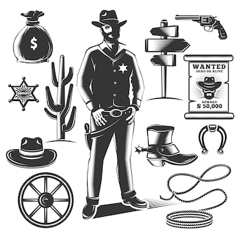 Zestaw ikon szeryfa z czarno na białym tle elementów wyposażenia kowbojów i szeryfów