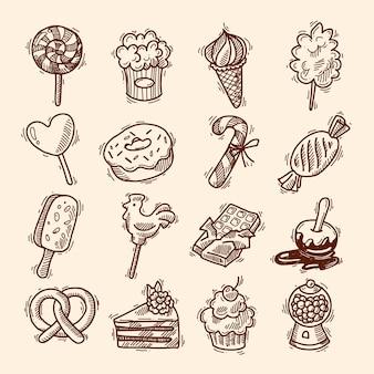 Zestaw ikon szkic słodyczy