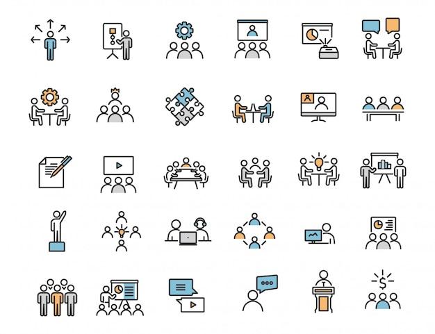 Zestaw ikon szkolenia biznesowe liniowe ikony warsztatowe