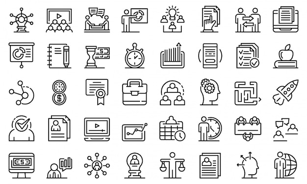 Zestaw ikon szkolenia biznesowe