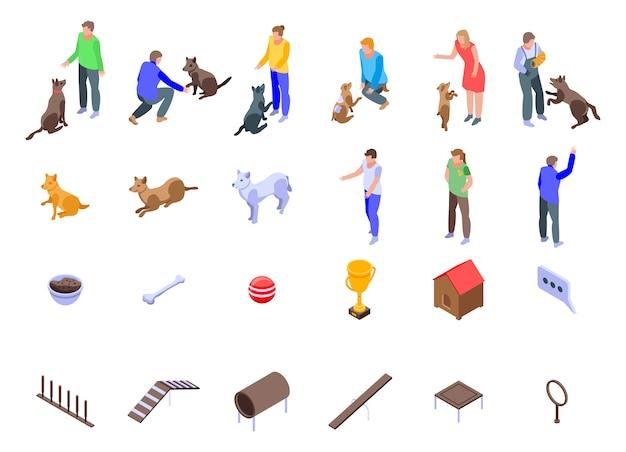 Zestaw ikon szkolenia psów, izometryczny styl