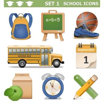 Zestaw ikon szkoły wektor 1