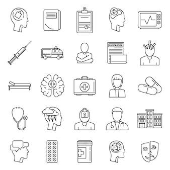 Zestaw ikon szpitala psychiatrycznego mózgu