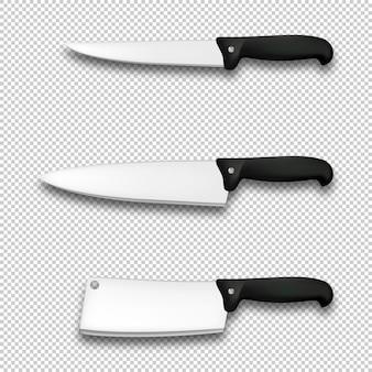Zestaw ikon sztućców realistyczne różne noże kuchenne na białym tle szablon projektu do brandingu makiety
