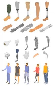 Zestaw ikon sztucznych kończyn, izometryczny styl
