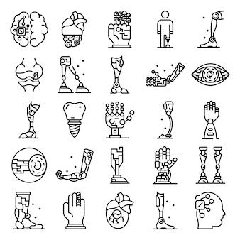 Zestaw ikon sztucznych kończyn, styl konturu