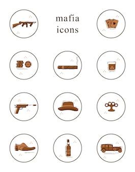 Zestaw ikon sztuki linii. kolekcja symboli mafii.