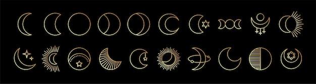 Zestaw ikon sztuki linii księżyca złote mistyczne znaki niebieskie liniowy styl