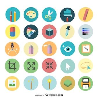 Zestaw ikon sztuki projektowania