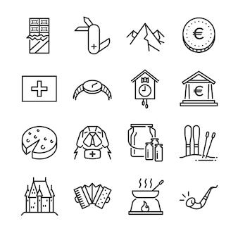 Zestaw ikon szwajcarii.