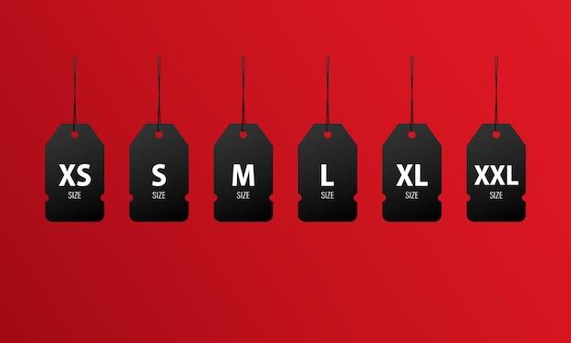 Zestaw ikon tagów rozmiaru xs, s, m, l, xl, xxl