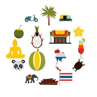 Zestaw ikon tajlandia, płaski ctyle