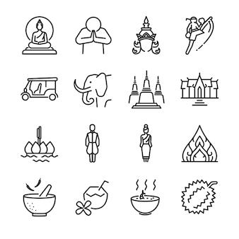 Zestaw ikon tajlandii.