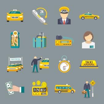 Zestaw ikon taksówek płaski