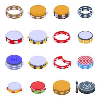 Zestaw ikon tamburynu. izometryczny zestaw ikon tamburynu do projektowania stron internetowych na białym tle