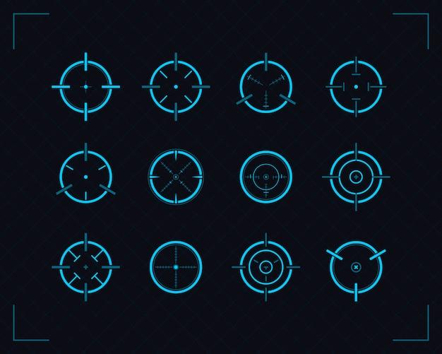 Zestaw ikon target, celowanie i strzelanie z karabinu snajperskiego.