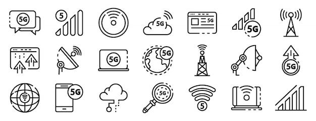 Zestaw ikon technologii 5g, styl konspektu