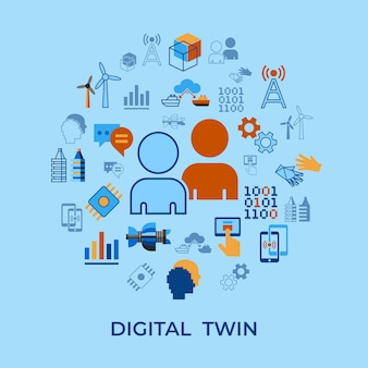Zestaw ikon technologii asystenta cyfrowego tween