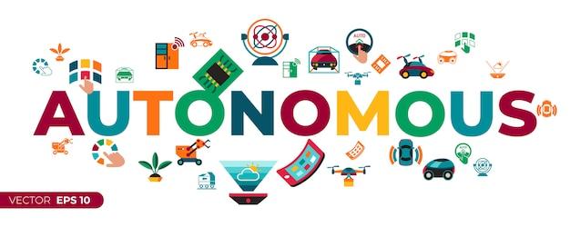 Zestaw ikon technologii autonomicznego transportu
