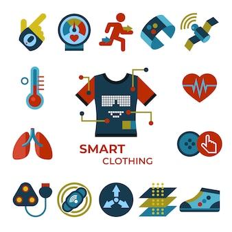 Zestaw ikon technologii gadżetu inteligentnych ubrań mody