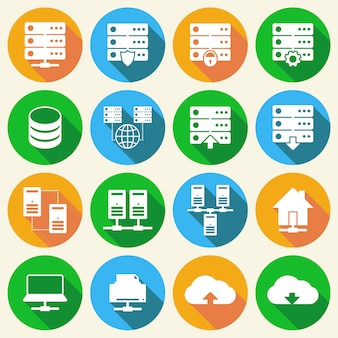 Zestaw ikon technologii hostingu