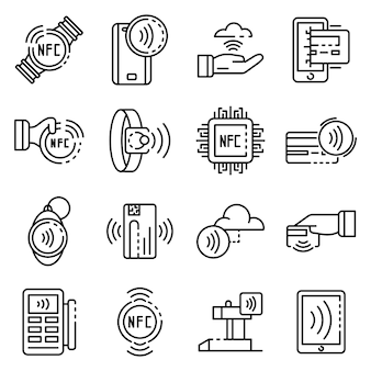 Zestaw ikon technologii nfc, styl konspektu