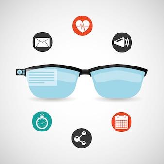 Zestaw ikon technologii noszenia w okularach