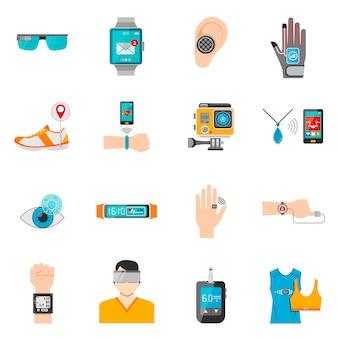 Zestaw ikon technologii noszenia