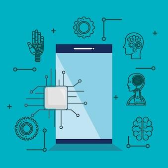 Zestaw ikon technologii sztucznej inteligencji