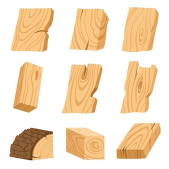 Zestaw ikon teksturowanej desek, barów i części drzewa.