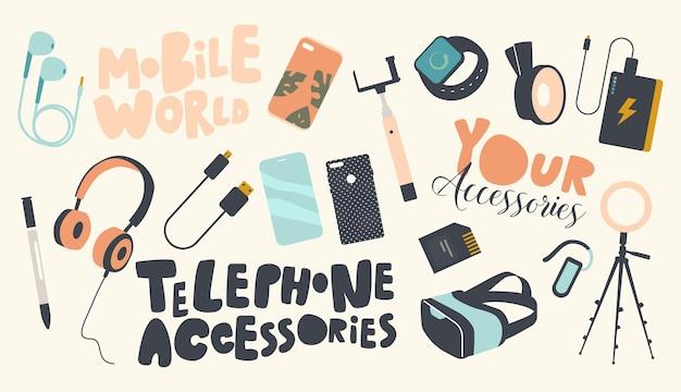 Zestaw ikon telefon akcesoria tematu. nowoczesne urządzenia cyfrowe i gadżety statyw do smartfona, ładowarka usb, karta pamięci, stilus do telefonu komórkowego, słuchawki czy gogle vr. ilustracja kreskówka wektor