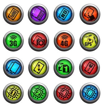 Zestaw ikon telefonu komórkowego lub komórkowego, smartfona, specyfikacji i funkcji