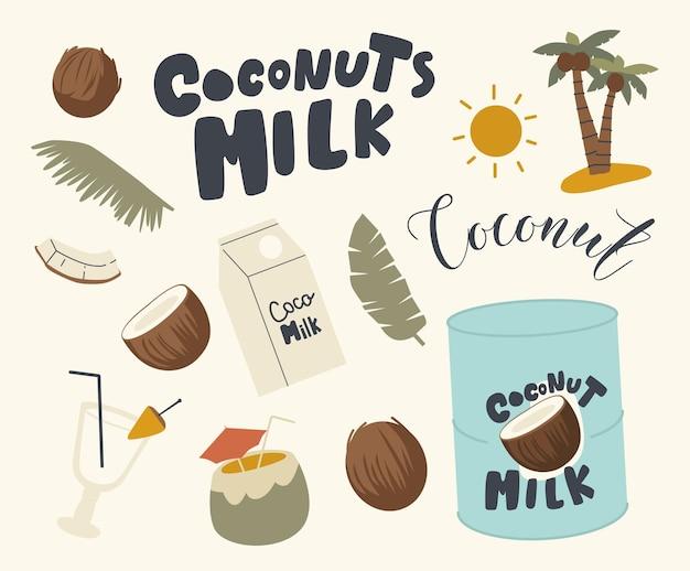 Zestaw ikon tematu mleka kokosowego. koktajl ze słomką i parasolem, liśćmi palmy, opakowanie z napojami i puszka z mlekiem kokosowym