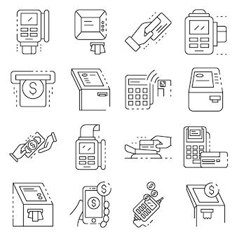 Zestaw ikon terminala bankowego. zarys zestaw ikon wektorowych terminalu bankowego